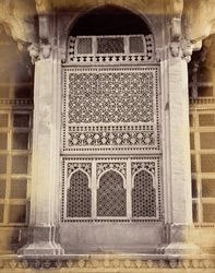 [Detail of a carved stone lattice at] Mahammed Ghaus Tomb, [Gwalior] 9423